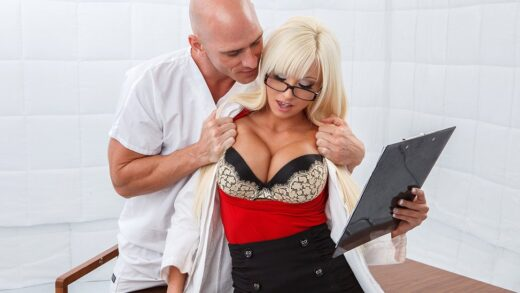 Dr. Six is assigned to the case of Johnny Sins, a man who believes every woman wants to fuck him. She tries to remain professional during their session, but pretty soon she finds out it's not all in his head after all! She begs for his cock to fuck her wet pussy and ends up with cum all over her face.