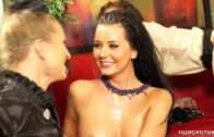 FullyClothedPissing – Sharon Pink, Adel Sunshine And Bella Baby – Piss Busy At The Bar Part 1