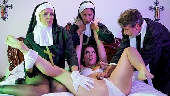 [EvilAngel] Dana Vespoli, Julia Ann, Victoria Voxxx (Threesome Nun / 10.06.2019)
