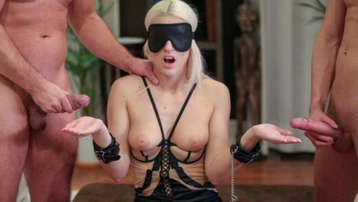 Private - Blanche Bradburry, Is Handcuffed, Blindfolded and DPd by Two Men