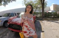 BangRoadSide – Lilly Hall, Totals Her Car And Fucks The Mechanics Dick For A Favor