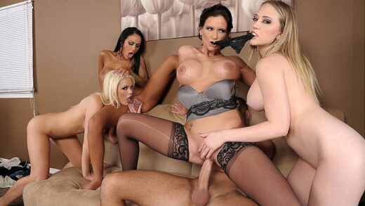 BigTitsAtWork - Angelina Valentine, Phoenix Marie, Kagney Linn Karter And Alexis Ford - Office 4-Play III