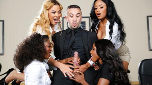 BigTitsAtWork - Anya Ivy, Diamond Jackson, Jade Aspen And Jasmine Webb - Office 4-Play VII Ebony Babes