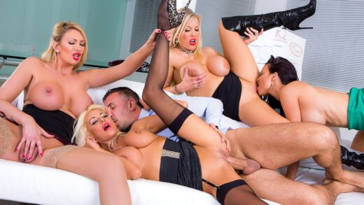 BigTitsAtWork - Jasmine Jae, Leigh Darby, Rebecca More And Tia Layne - Office 4-Play VIII UK Edition