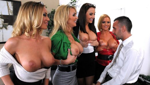 BigTitsAtWork - Krissy Lynn, Tanya Tate, Chanel Preston And Nichole Aniston - Office 4-Play Christmas Edition