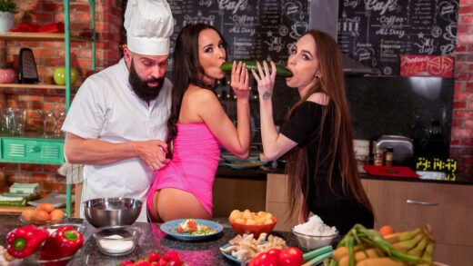DoeProjects - Francys Belle And Angel Rush - Hot Threesome Sex In The Kitchen