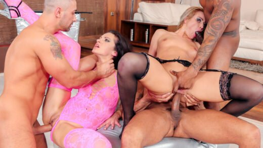 DoeProjects - Cherry Kiss And Linda Moretti - Hardcore Gangbang For Hot Girls