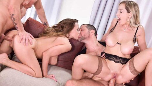 HandsOnHardcore - Josephine And Siya Jey - A Kinky Swingers Affair - Two Babes In Hardcore DP Action