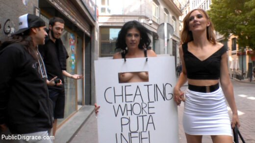 PublicDisgrace - Mona Wales And Montse Swinger - Cheating Wife's Big Hot Ass Shamed Fully Naked In Public Display
