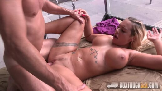 BoxTruckSex - Kyra Hot gets a Load on her Tits in Budapest