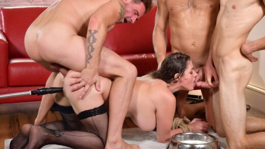 PornWorld - Cathy Heaven - Submissive Busty Brunette Stuffed Airtight in BDSM Gangbang